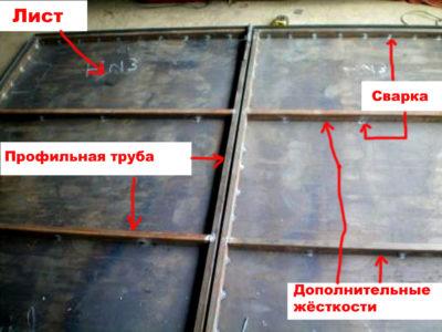 Так выглядит конструкция после навески полотна из стального листа
