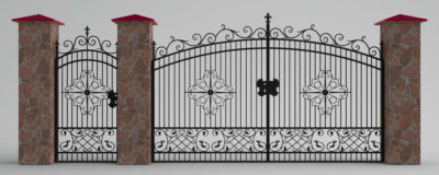 Декорирование ворот с помощью элементов ковки