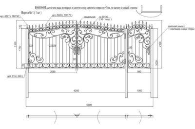 Один из возможных эскизов кованых ворот с изящными дополнительными элементами