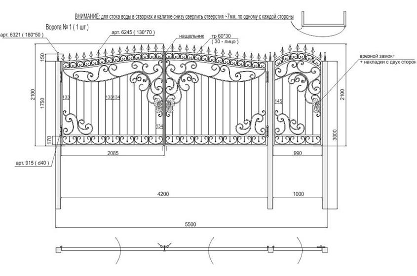 Кованые ворота с калиткой своими руками