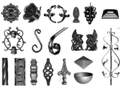 Рис. 7 – Разнообразие кованых элементов, включая растительное, животное направление, пики и завитки