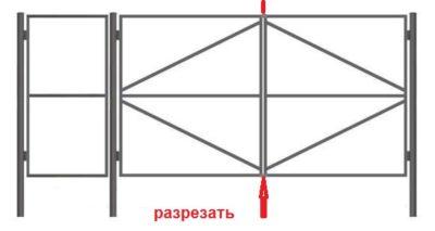 Схема рамы для дачных ворот с калиткой