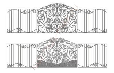 Оригинальные ворота и забор