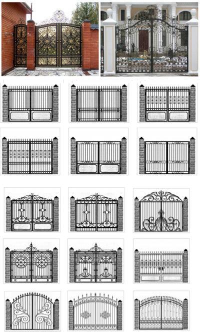 Складные ворота с элементами ковки.