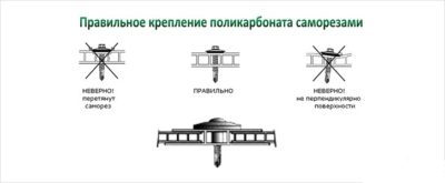 Особенности правильного крепления поликарбоната посредством использования саморезов с указанием некорректных вариантов, которые приводят к деформации материала