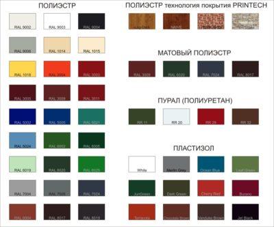 Разновидности расцветок профилированного металлического листа