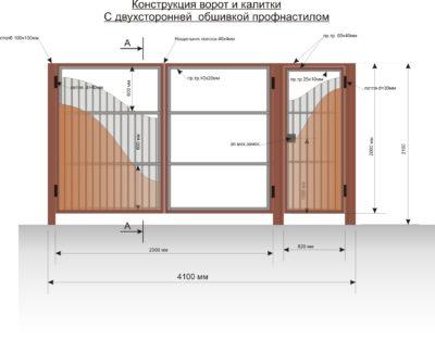 Общая схема распашных двустворчатых ворот и калитки