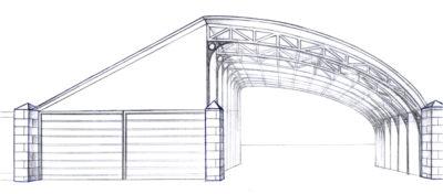 Схема навеса для автомобиля, типа гараж, на столбах