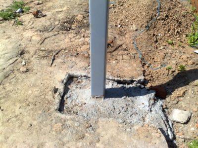 Укрепление стоек цементом