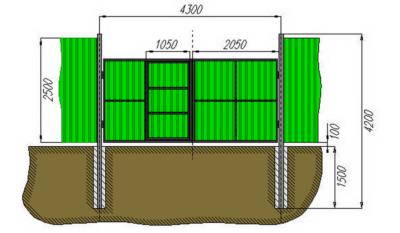 Пример чертежа для расчета размеров конструкции